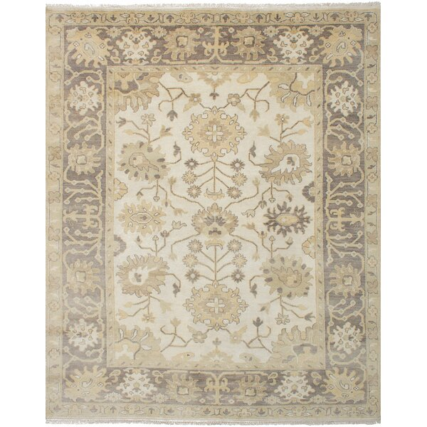 One-of-a-Kind Doggett Traditional Hand Knotted Rectangle 100% Wool Cream Area Rug by Isabelline